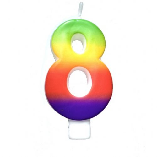 Rainbow-Colored Numeral #8 Candle